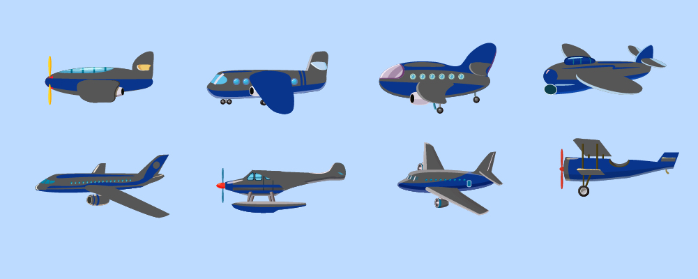picture shows different types of airplanes