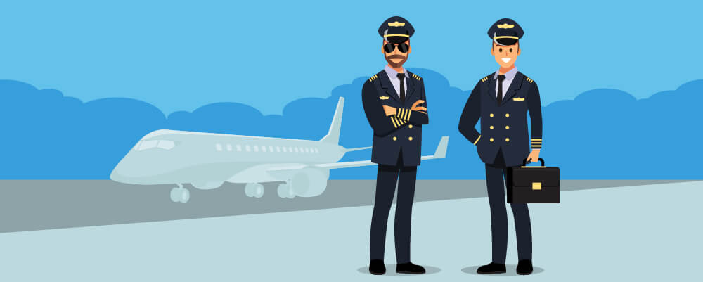 Picture of two pilots standing near an airplane